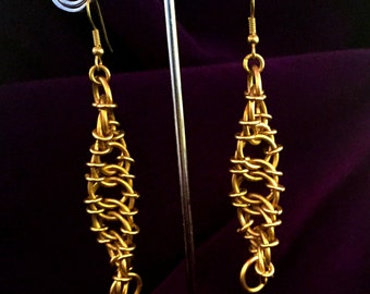 Golden Chainmaille Earrings - Jewelry Brass - Spiral Lock - Chainmail Jewelry