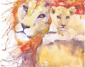 Lion cub, watercolor painting, safari animals, lion art print, african animals, lion print,  lion king art, Lion King Painting, lion nursery