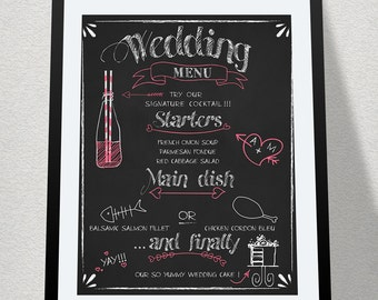 Chalkboard Wedding Menu Sign • Printable Wedding Decorations • BBQ Wedding Menu • Outdoor Wedding Decor • Rustic Wedding Blackboard Signs
