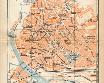 Beziers map Etsy