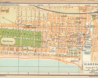 1935 Viareggio Tuscany Italy Antique Map