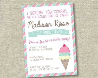 Ice cream party invitation, ice cream birthday invitation, girl birthday invitation, ice cream social invitation,ice cream shoppe invitation