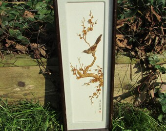 Vintage oriental hand-crafted bird on cherry blossom shadow box/diorama, signed