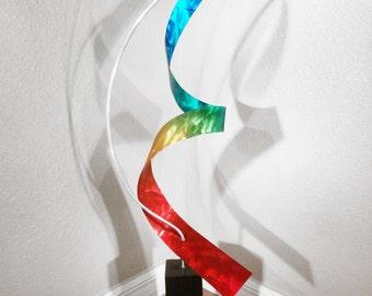 """Modern Abstract Metal Art Indoor Outdoor Decor Sculpture - Rainbow """"Moon"""" by Dustin Miller"""