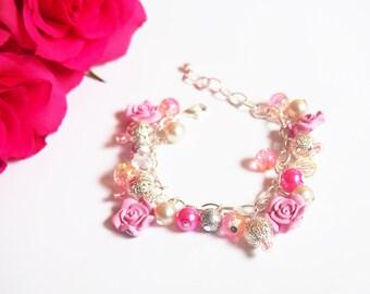 Pink Rose Bracelet (flower bracelet pink bracelet beaded bracelet charm bracelet rose jewelry bridesmaid gift bridesmaid bracelet silver)