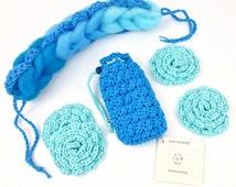 Crochet Bath Set Handmade Shower and Bath Gift Set Aqua Blue Soap Pouch Face Scrubbies Back Scrubber Face Cloth Cotton Crochet Spa Gift Set