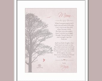 Personalized Gift For Mom - Parents Wedding Gift - Gift For Mother Wedding - Custom Poem - Poem For Mom - Thanks Mom Poem