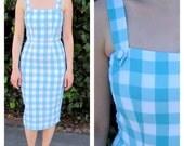 1950s dress / 50s dress / pinup dress / wiggle dress / gingham dress / bridesmaid dress / midi dress/ retro dress