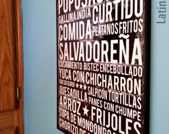 El Salvador Food Poster - Food Word Art - Various Sizes & Colors