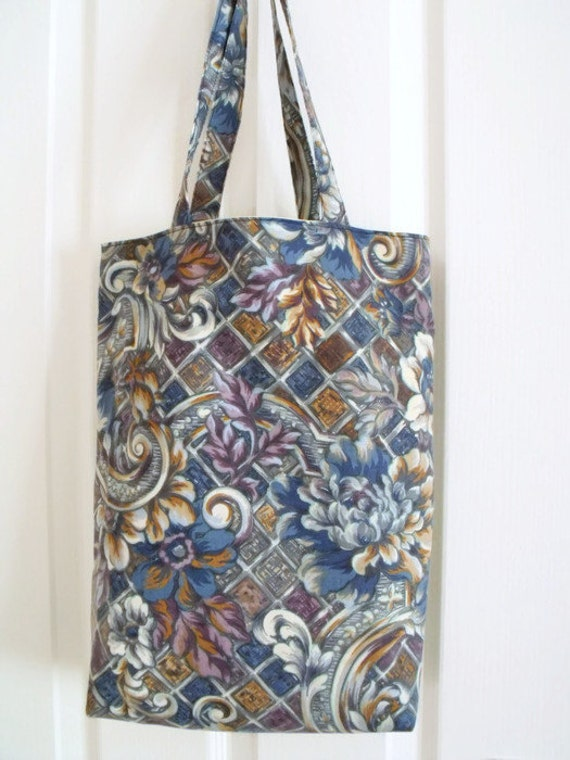 cotton shopping bag, shopper tote bag for holidays, cotton carry all, unused vintage floral trellis print fabric