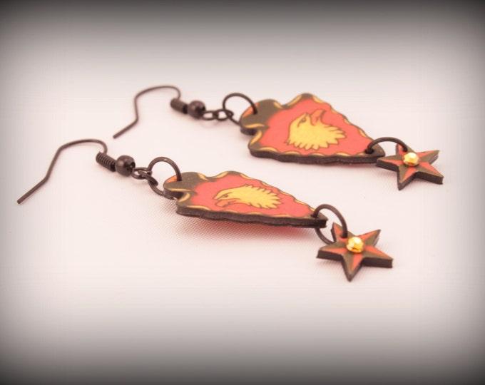 Arrowhead earrings - Arrowhead jewelry - Native American - Southwestern - Indian - Red - Yellow - Bald eagle - Tattoo - Arrow - Head