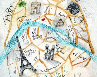Paris City Art, Paris City Map, Paris Print, France Decor, collage art map,  interior design print,  city poster illustration