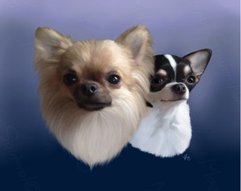 Lil Buddy and Lola - Long Coat Chihuahua & Smooth Coat Chihuahua Signed Art Print