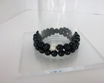 Gemstone Beaded Bracelet/Black Onyx bracelet/Onyx Wrap Bracelet/Beaded Stretch Bracelet/Black Onyx Stacking Bracelet/Gemstone Stack/B0146