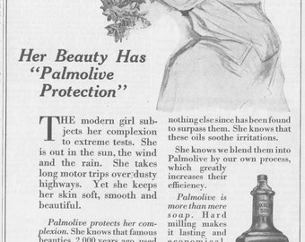 Palmolive Soap Matted Advertisement - Original 1910s Vintage Ad - 1913 Youth's Companion - Unusual Wall Decor - Desk Decor - beauty soap -