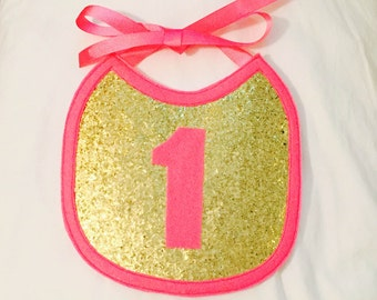 Gold and Bright Pink 1st Birthday Bib, First Birthday Bib, Gold and Pink, Baby Bib, Photo Prop Bib, Cake Smash Bib