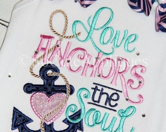 5x7 Love anchors the soul 5x7 embroidery design, love the sea, anchor, heart embroidery