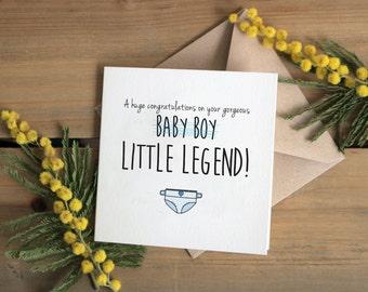 Baby boy card / little legend card | New baby congratulations card | Modern greetings card