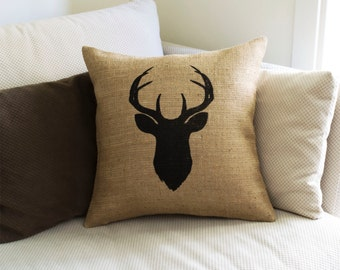 Animal Silhouette Pillow Covers : Items similar to Deer head pillow cover, Scandinavian style, Animal print, Cross stitch pattern ...