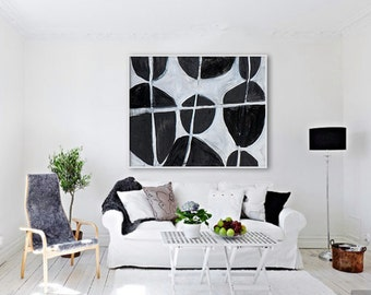 "Large Giclée PRINT, Abstract print of original painting. Modern, contemporary art, Black and White colors. ""Arrangement"""