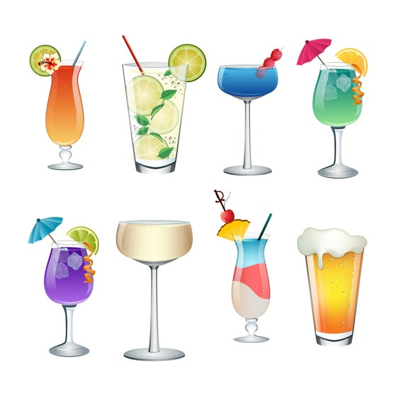 cocktail summer drinks clip art set of 8 colorful png jpg