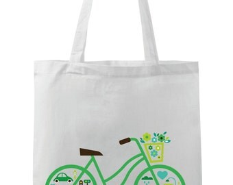 City Green Bike Funny Tote Bag  *Free Worldwide Shipping*