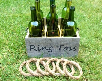 Rustic Wine Bottle Ring Toss