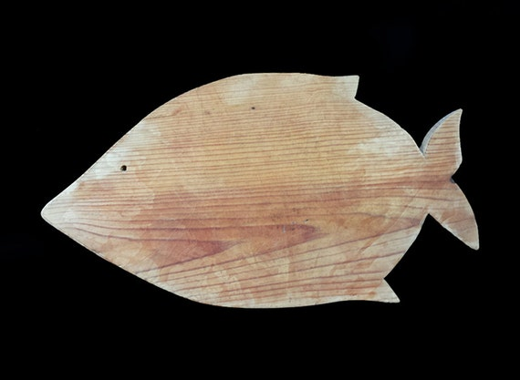 Rustic fish shaped wood cutting board with by for Fish cutting board
