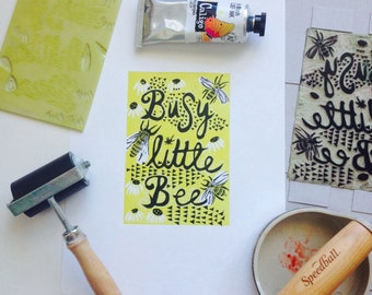Linocut bee print, busy little bee, yellow black and white, A4, home decor, wall art, hand printed, lino, linocut