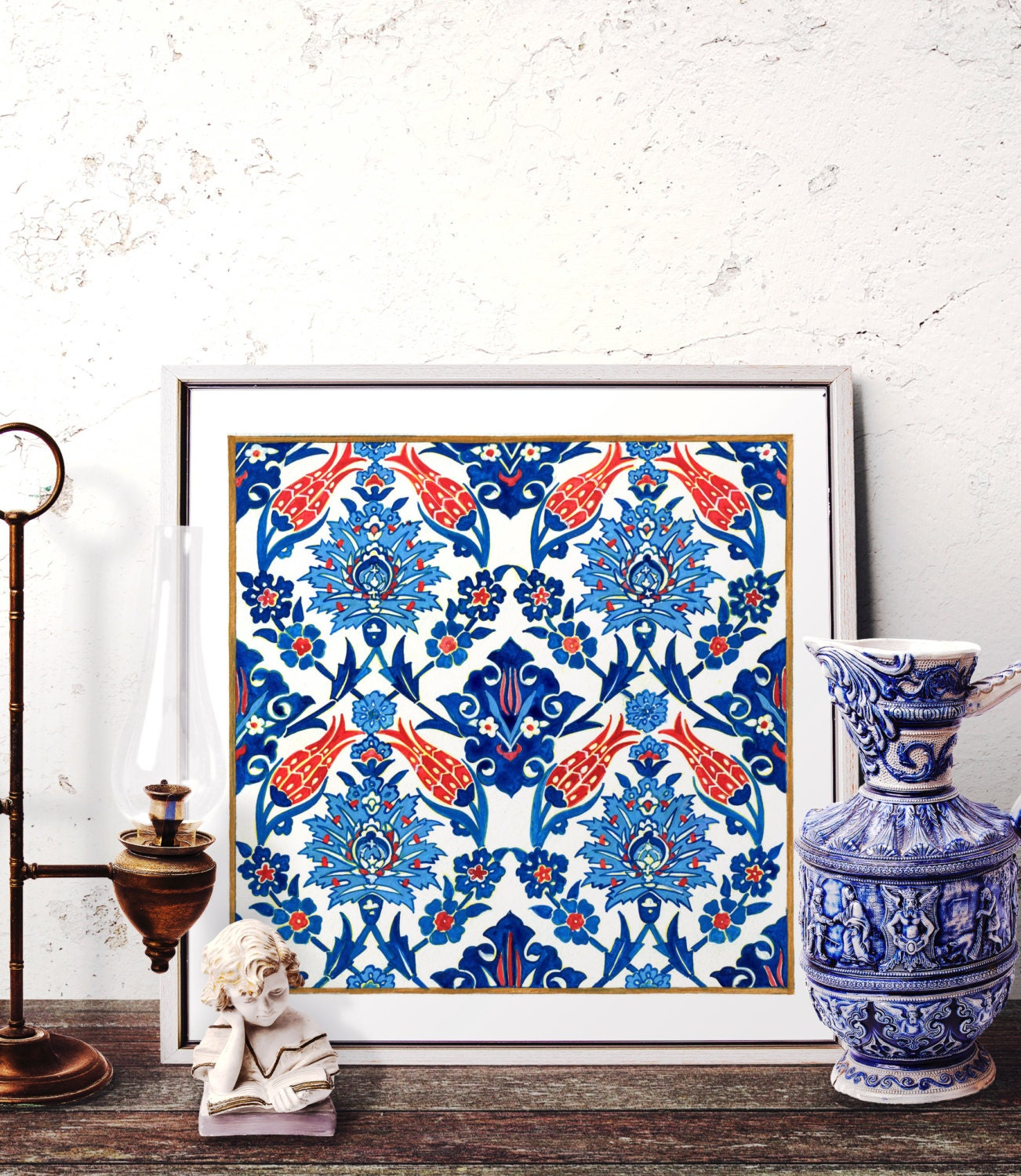 Traditional Turkish Ottoman Red Flower Home Decor Mosaic: Mosaic Tile Design Watercolor Art Traditional Turkish Ottoman