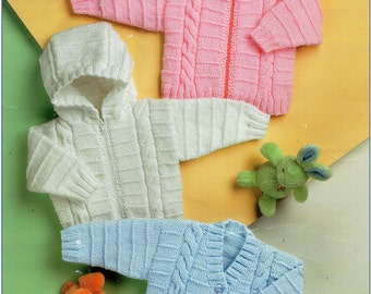 """baby / Childs /  childrens cable jackets knitting pattern PDF hooded cardigan zipper jacket 18-26""""DK light worsted 8ply instant download"""