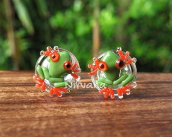 """Green with Red Legs Poison Tree Frog Glass Plugs 00g 7/16"""" 1/2"""" 9/16"""" 5/8"""" 3/4"""" 1"""" 9.5 mm 10 mm 12 mm 14 mm 16 mm 18 mm 20 mm 22 mm 25 mm"""
