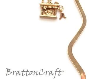 Gold Christmas Hearth Bookmark - Gold Fireplace Bookmark - Holiday Bookmark - Christmas Bookmark - Stocking Stuffer - EPSTeam
