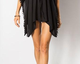 Pom Tunic Dress in Black, Women's tunic, Tunic top for women, Bohemian tunic, tunic beach cover up, Draping tunic, flowy top