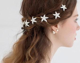 Set of 6 hair pins Starfish hair pin-bridal hair pin-rhinestone hairpin-beach wedding veil pins-hair pins crystal flower hair pin