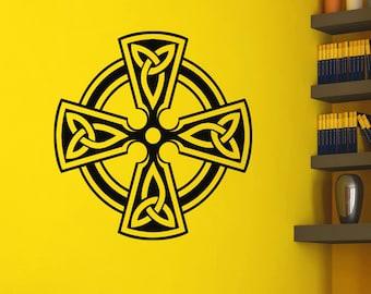Irish Celtic Cross Wall Decals Vinyl Stickers Antique Celtic