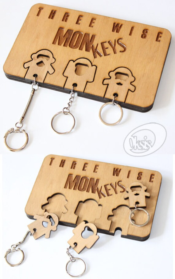 Items Similar To Wall Key Holder Monkeys Keychains Home