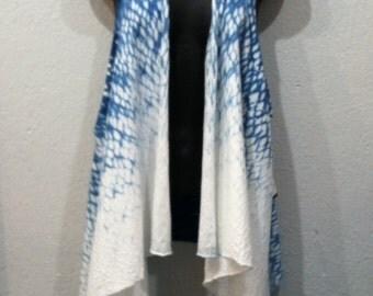 Hand dyed Indigo 100% Organic Cotton Shibori Vest