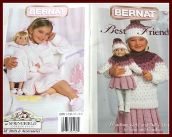 LOVE these Knitting and Crocheting Patterns, Matching Girls and Dolls Outfits, Bernat Best Friends Booklet
