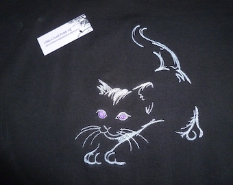 Cat T-Shirt Embroidered Kitten Larger sizes available