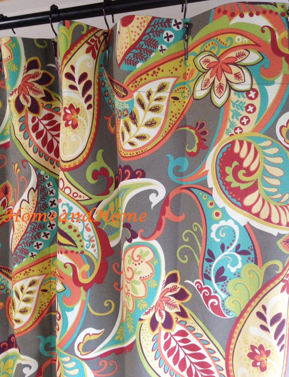 Custom Shower Curtain Whimsy Paisley Mardi Gras Plum Yellow