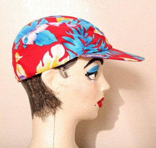 "Vintage 80 s RARE Collectable Original Wendy s ""Jazz Cap"" Hawaiian Print  Snapback Painters Hat 01e0fd6c12f"