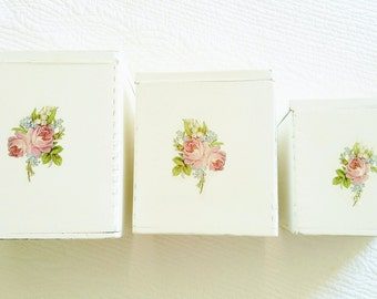 Vintage Cottage Home French Blue, Celadon Green, and Shabby Pink Rose Adorned Canister Set, Set of Three, Olives and Doves
