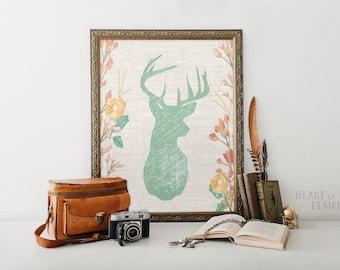 Printable art Deer head art print Green deer head art Deer silhouette Shabby chic deer art print Deer and flowers Woodland girl nursery art
