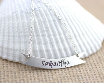 Custom Banner Name Necklace - Sterling Silver engraved name necklace, nameplate necklace, initial necklace, monogram necklace