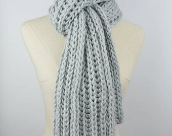 Knit Oversized Scarf, Grey Long Scarf, Chunky Knit Scarf, Knit Fashion Scarf, Open ended Scarf, Crochet Scarf, Gifts for Her, Winter Scarf