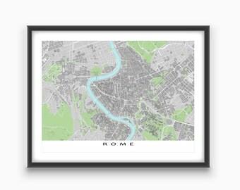 Rome Map Print, Rome Italy, Travel Art Print, Roma, Buildings