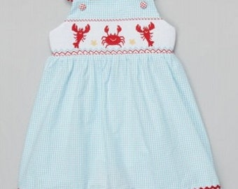 Smocked Crab and Lobster Sun Back Dress