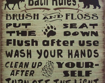 Cabin Bath Rules Primitive Rustic Country Lodge Wood Sign Wall Home Decor
