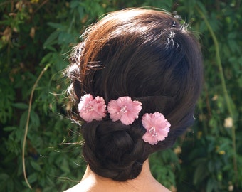 Flower Hair Pins, Pink Sakura Flower Bobby Pins, Bridal Hair Accessories, Wedding Accessory, Bridesmaid Accessory, Blossom Hairpieces